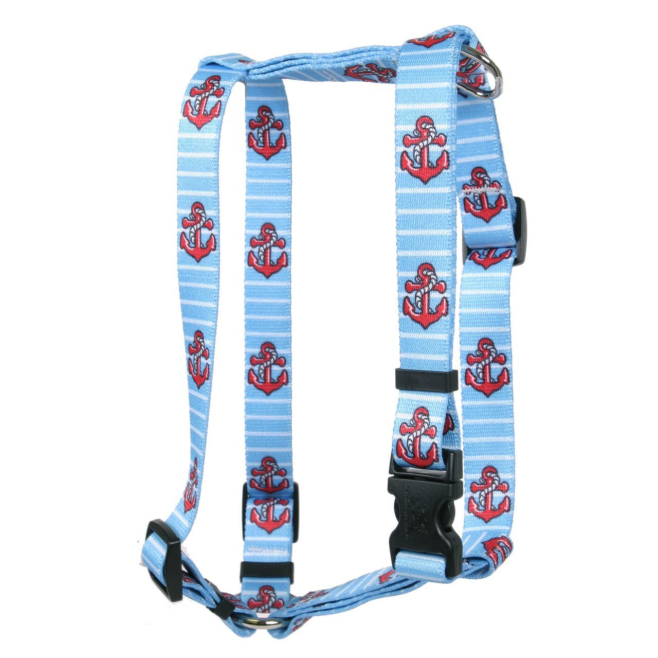 Yellow Dog Design Anchors on Blue Stripes Roman Style H Dog Harness, X-Large/1'' Wide by Yellow Dog Design (Image #1)