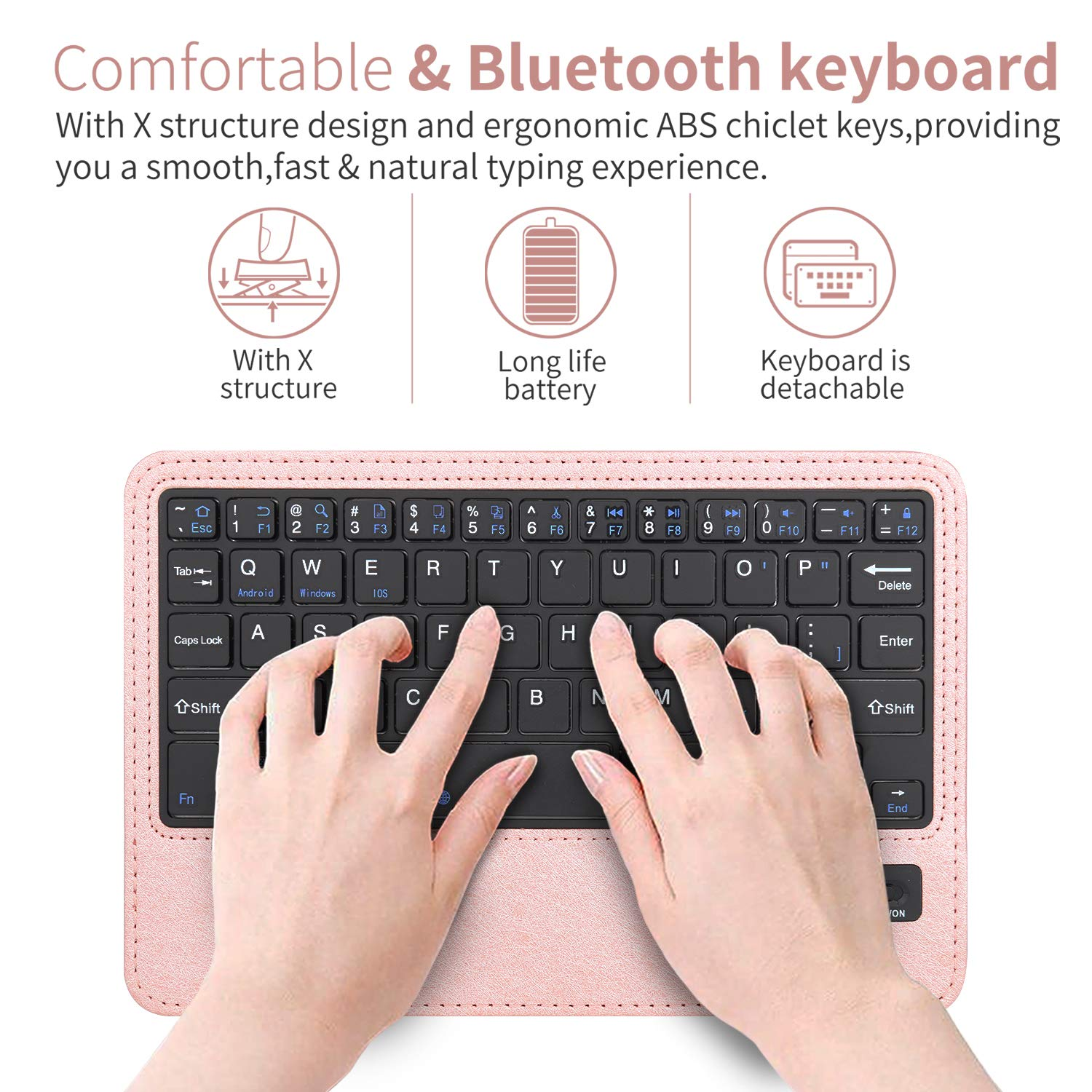 iPad Mini 5 /Mini 4 Keyboard Case, 360 Degree Rotating Case with Detachable Wireless Bluetooth Keyboard for iPad Mini 5th gen 2019,iPad Mini 4 (Rose Gold)