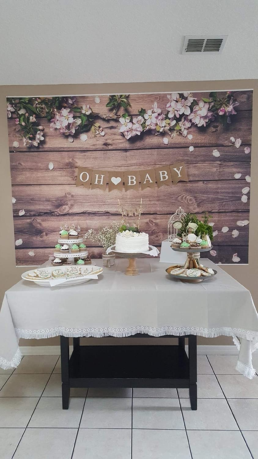 7/×5ft Background Wall Drop Vinyl Cake Flower Gray Wooden Floor Easy to Clean Christmas Decoration Decorative Wall Photo Booth Background Photography Outdoor Wedding Photography Background