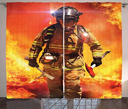 Miraculous Amazon Com Lunarable Fireman Curtains Firefighter Figure Download Free Architecture Designs Scobabritishbridgeorg