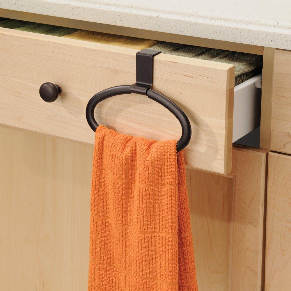 Amazon.com: InterDesign Axis Over Cabinet Swing Kitchen Dish Towel Loop  Holder, Bronze: Home U0026 Kitchen