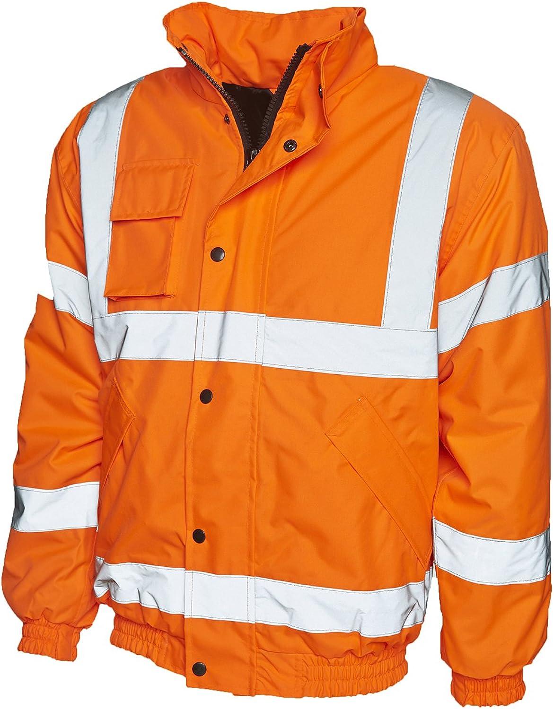Mens Hi Viz High Vis Safety Jacket|YELLOW ORANGE|EN471 Visibility Jacket UC804