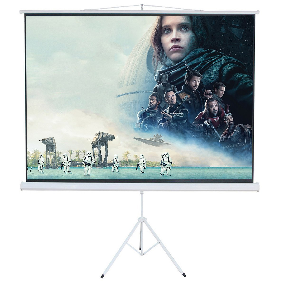 Cloud Mountain 120'' 4:3 Pull Up Tripod Projection Screen Portable Projector Projection Screen Matte White