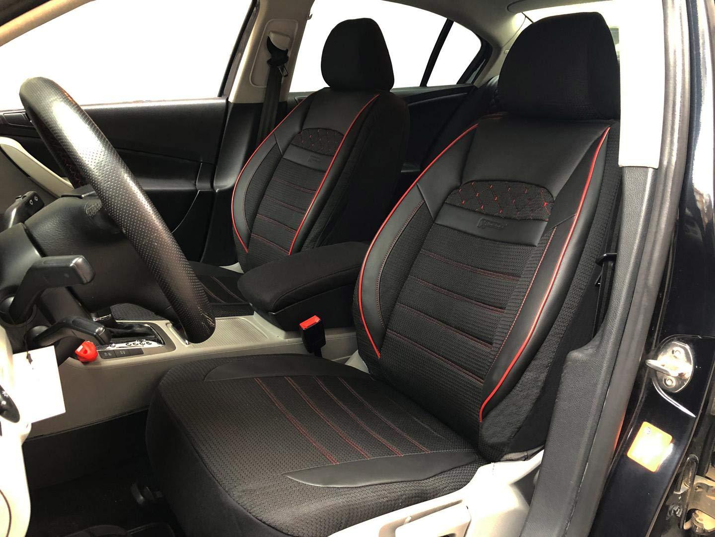 seatcovers by k-maniac Housses de Protection pour sièges d'auto V2412260 Noir-Rouge sièges Avant Applications en Similicuir Accessoires Automobiles