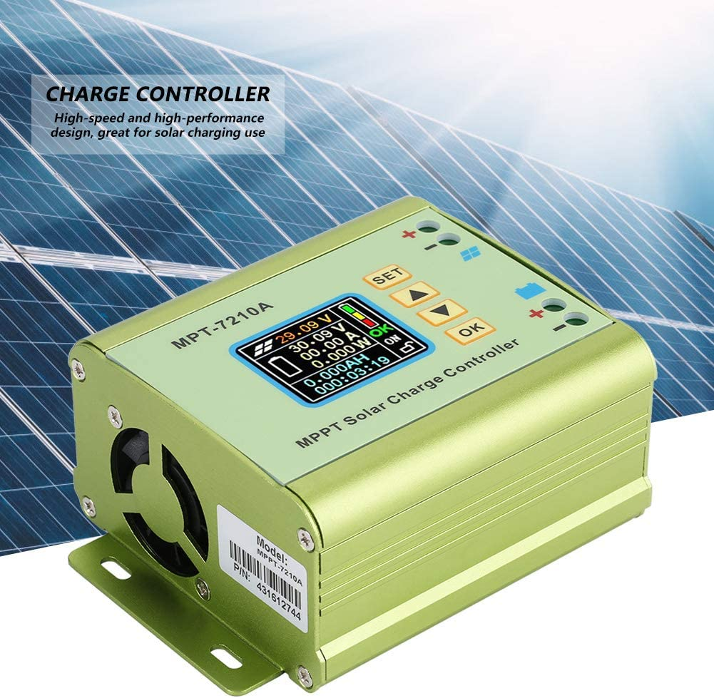 Wandisy Solar Controller,MPT-7210A Aluminum Alloy LCD Display MPPT Solar Panel Charge Controller for Lithium Battery