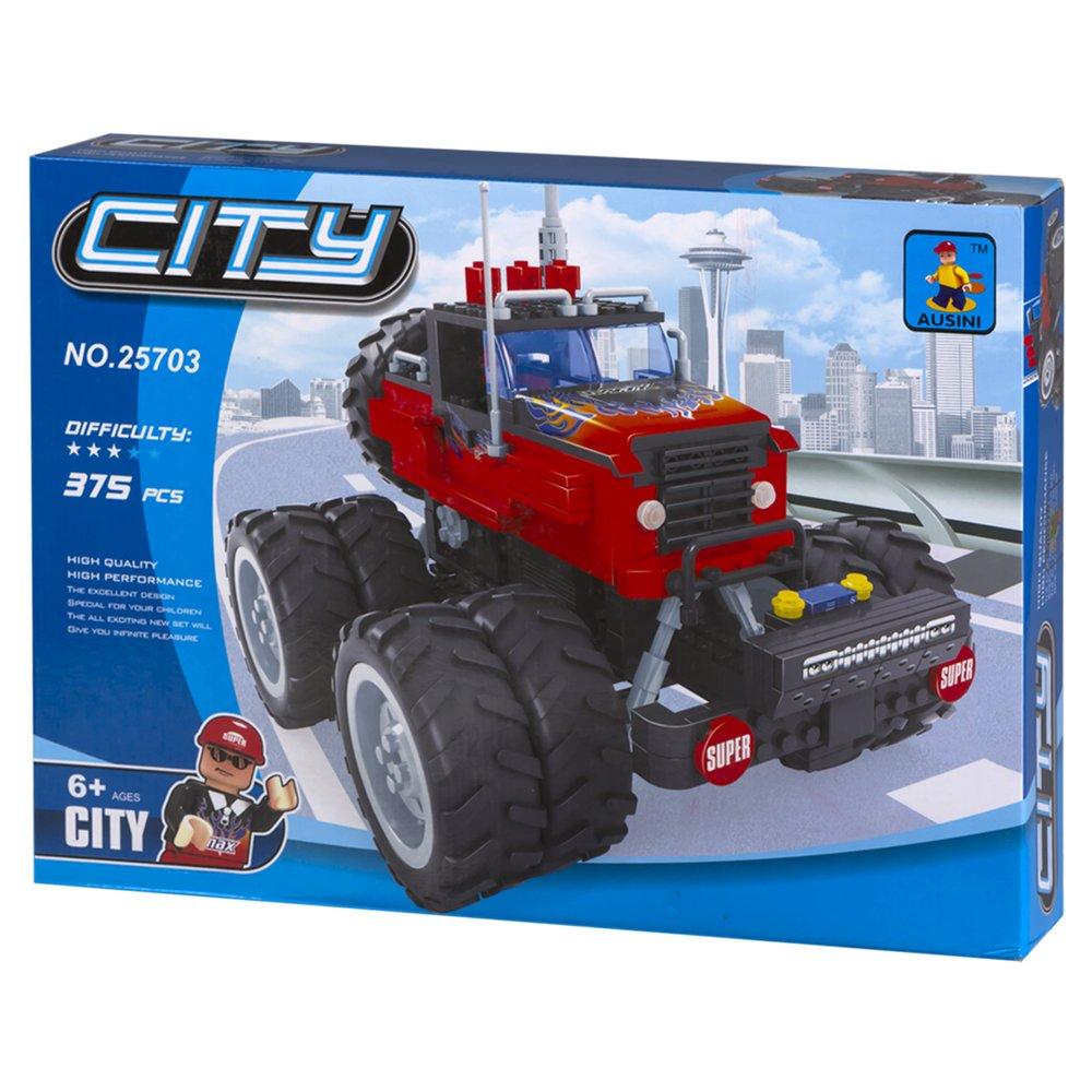 ColorBaby - Juego de bloques, construcción coche 4 x 4 y ruedas de tacos, 375 piezas (42846)