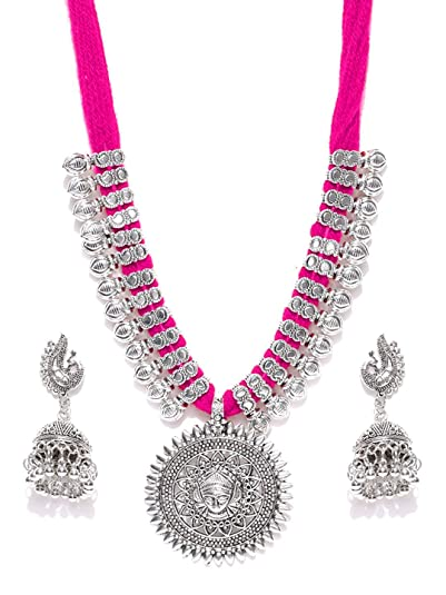 74d00d686e32f Youbella Antique German Silver Oxidised Plated Tribal Cotton Thread Jewellery  Set For Women   Girls (