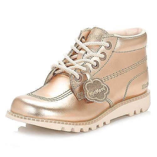 49b1dd9d9a9 Kickers Womens Metallic Rose Gold Kick Hi Leather Boots  Amazon.ca  Shoes    Handbags