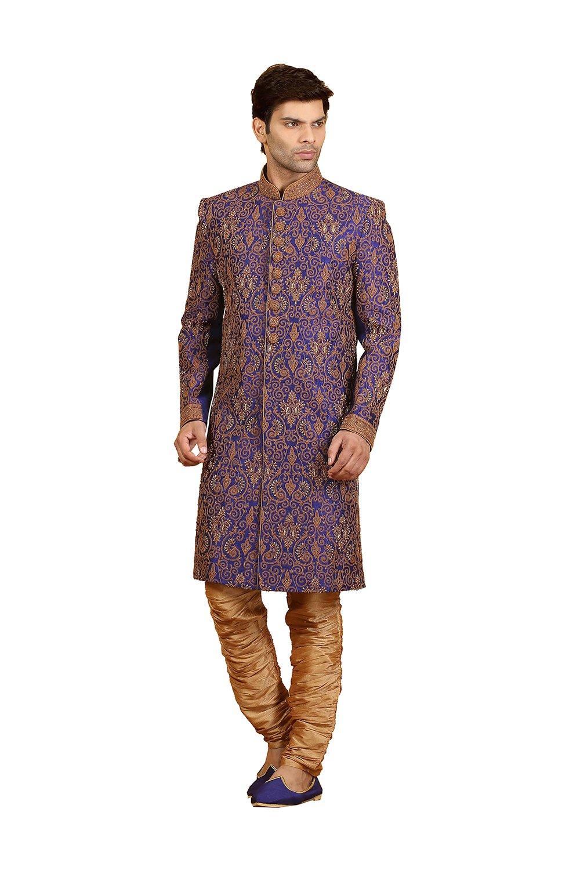 PinkCityCreations PCC Mens Indo Western Wedding Royal Blue Designer Partywear Traditional R