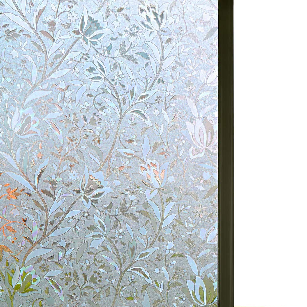 "Bloss Excellent Quality 3D Static Cling Window Film Self adhesive Window Covering Decorative Flower Privacy film for window 17.7"" x 78.7"", 1 Roll"