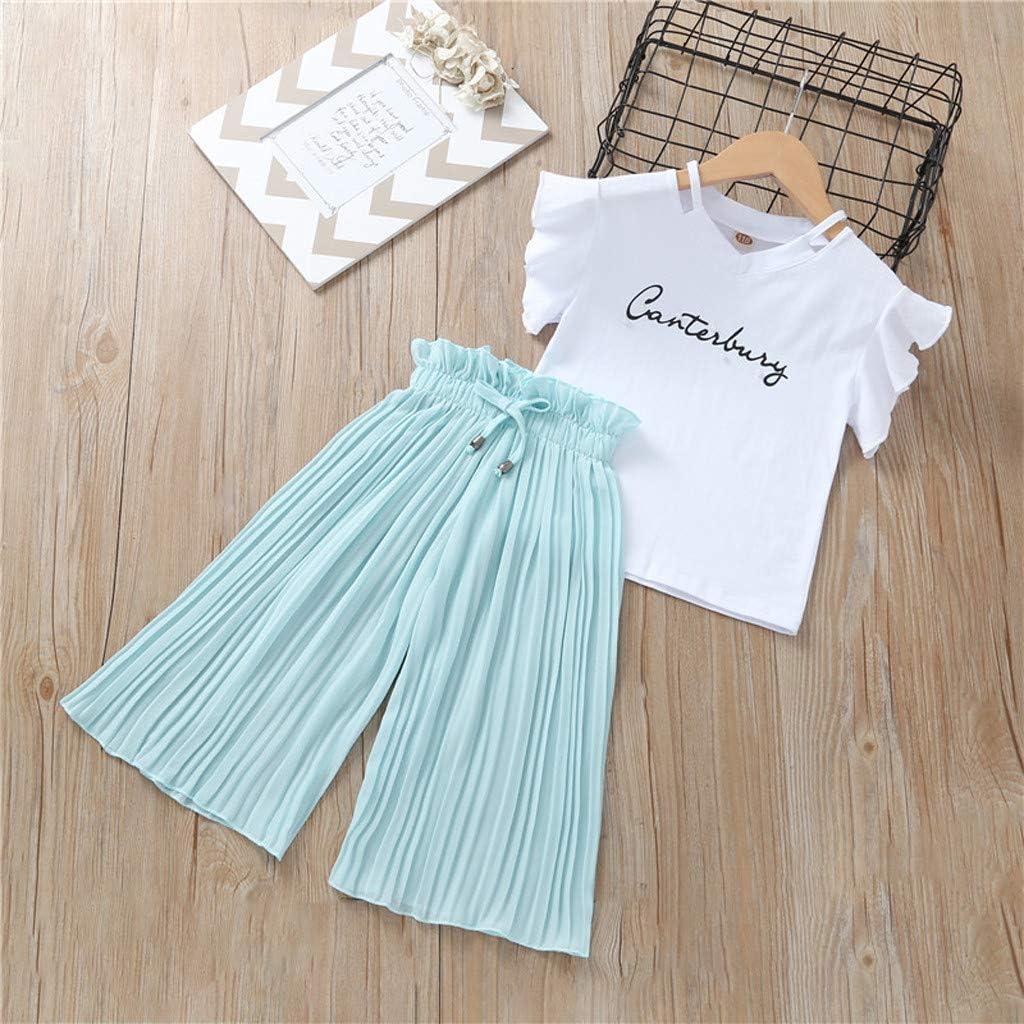 Xshuai RTE Children Kids Baby Girls Letter T Shirt Tops+Ruffle Loose Pants Outfits Costume