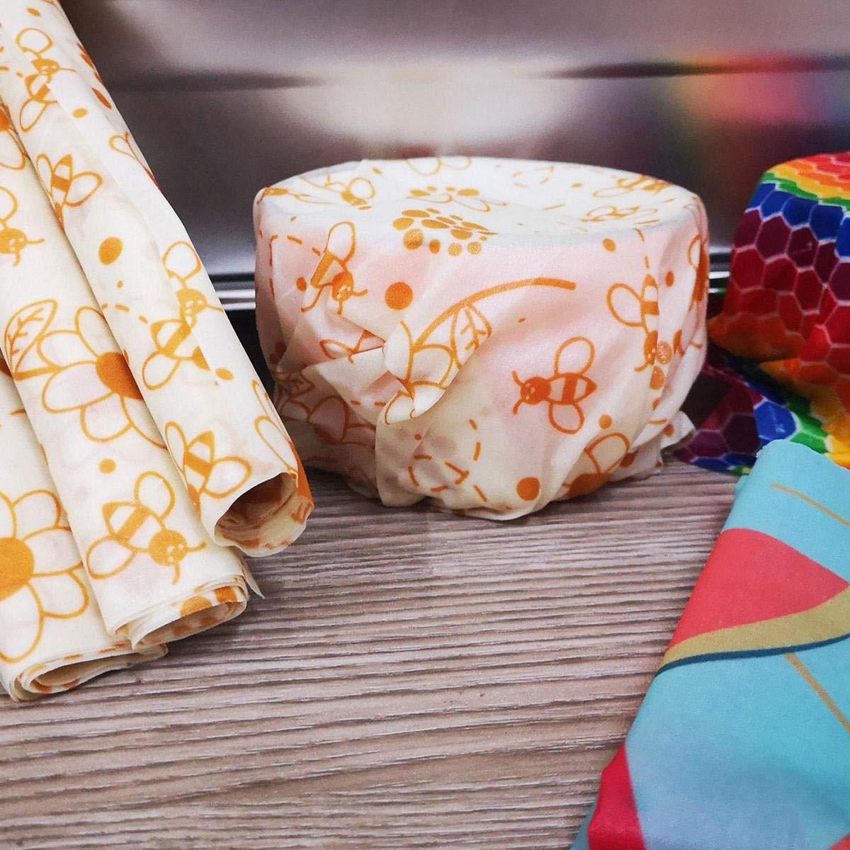Vuffuw Enveloppes de Cire dabeille Fromage 2 Petits 2 Moyens 5 paqueteco-amicales r/éutilisables enveloppes Alimentaires Durable Plastique Stockage Gratuit pour Couvrir Les sandwichs 1 Grand