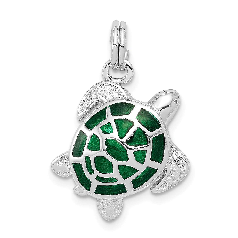 Sterling Silver Green Enamel Turtle Charm 17x18mm