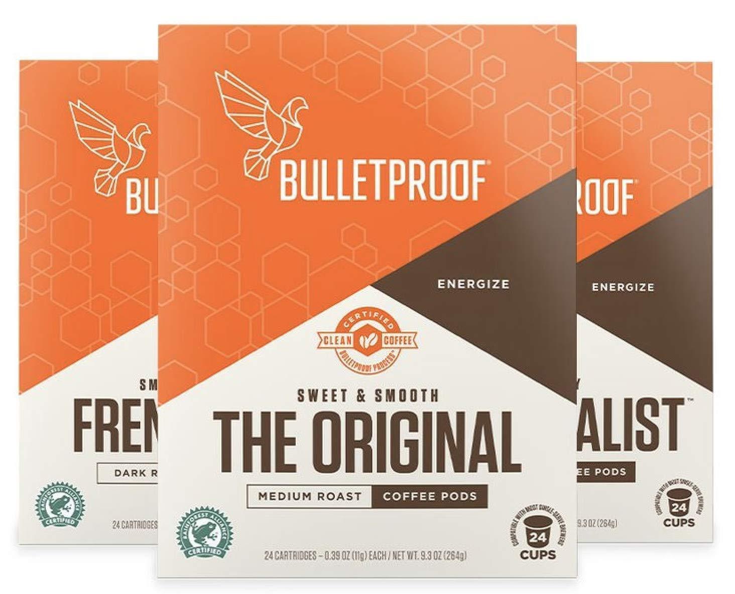 Bulletproof Variety 72-Count K CUP pods bundle, 24-French Kick Dark Roast, 24-Mentalist Medium-Dark Roast, 24-Original Medium Roast, Rainforest Alliance Premium Coffee for Keurig (72 Pods)