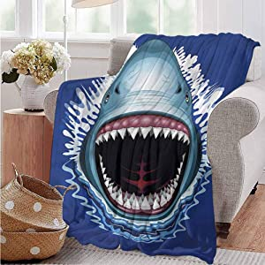 Luoiaax Shark Commercial Grade Printed Blanket Attack Open Mouth Bite Queen King W70 x L84 Inch