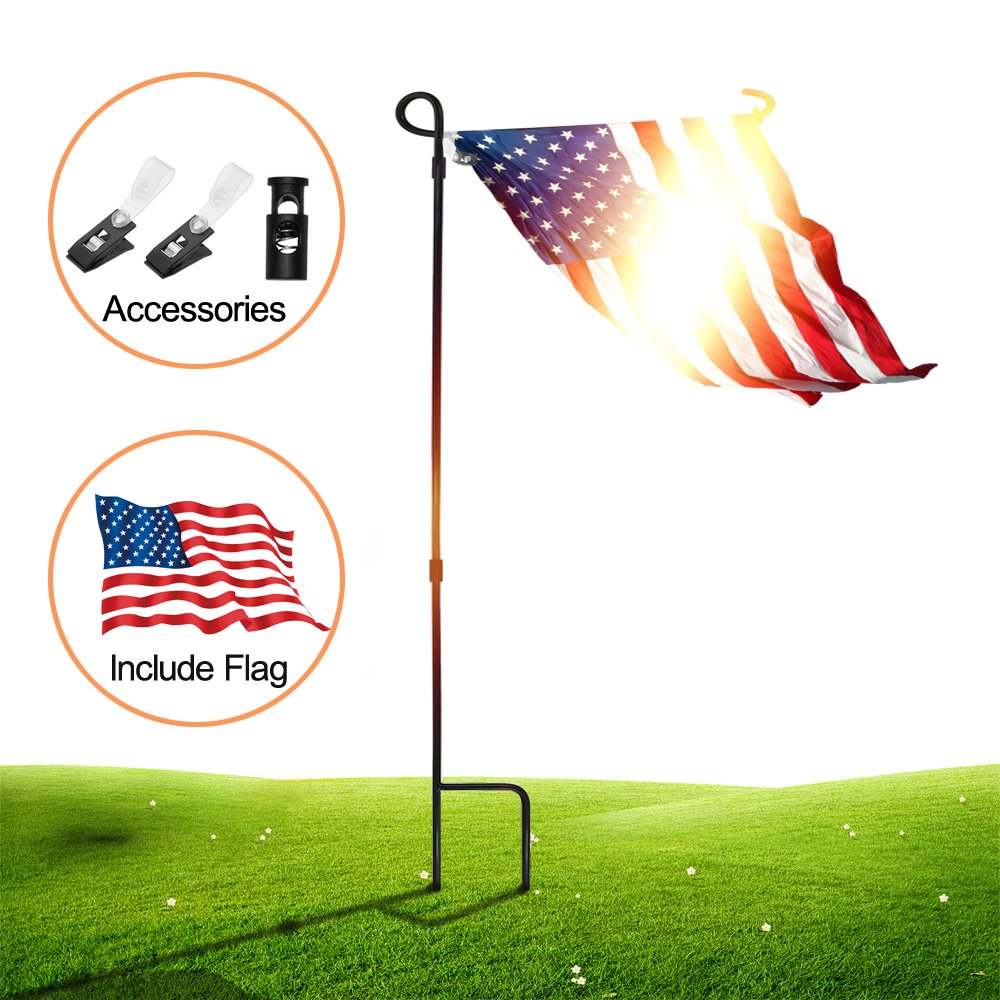 Garden Flag Stand Pole Holder with Garden Flag Stopper and Anti-Wind Clip 36.22'' H x 16.53'' W for Premium Metal Wrought Iron Powder Coated Weather-Proof Paint Steel Include Flag(black-Include Flag) by SSRIVER (Image #1)