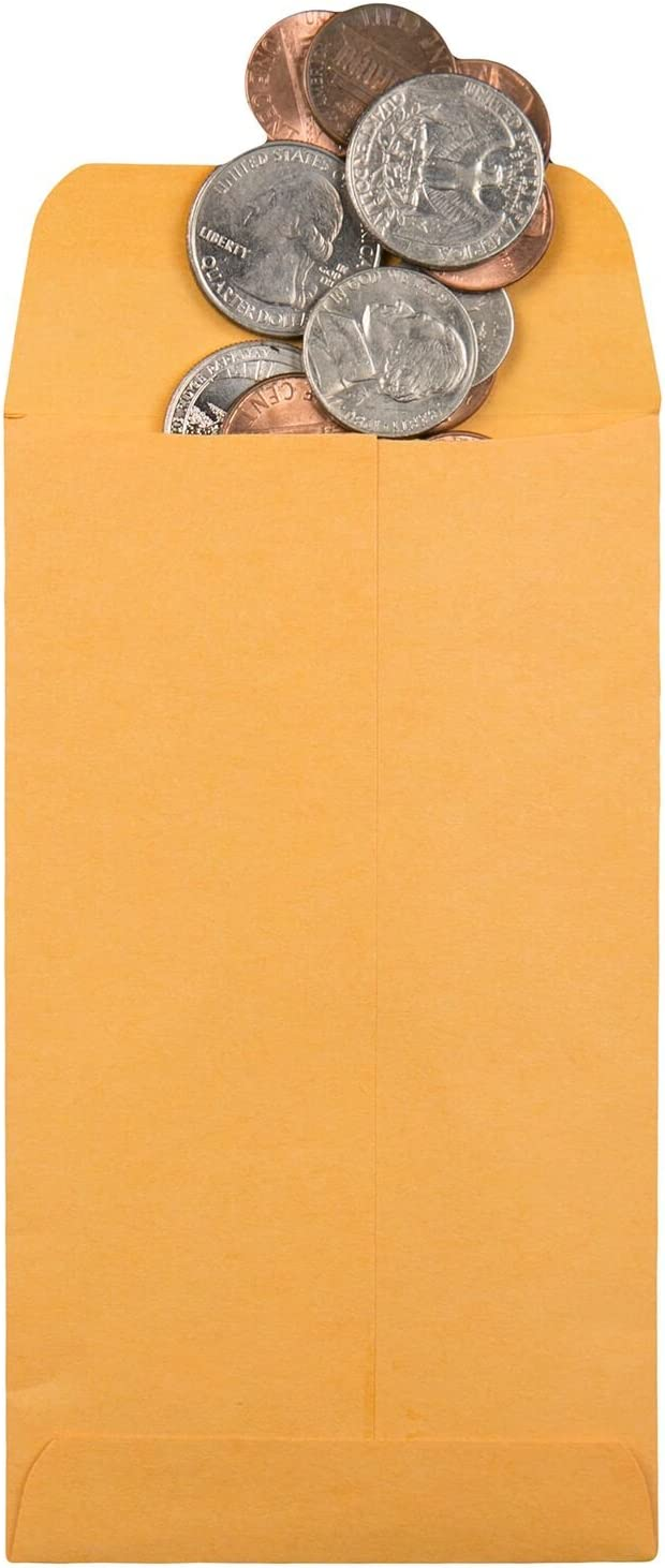 5.5 Box of 500 Brown Kraft Quality Park Coin//Small Parts Envelopes 3.125 x 5.5-Inches 50562