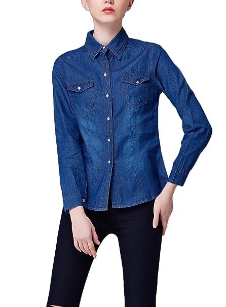 Camisa Jeans Mujer Elegantes Primavera Otoño Blusa Camisas Shirts Camisa De Manga Larga De Solapa Tallas