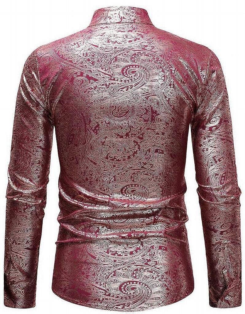WAWAYA Men Long Sleeve Nightclub Mandarin Collar Slim Casual Plus Size Button Down Dress Shirts