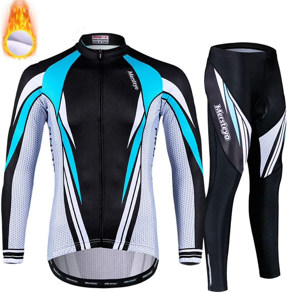 KKD XXXL Winter Windproof Radsportanzüge Set, Herren Radsportjacken für Herren MTB Mountainbike Jacke Visible Reflective Fleece Warme Jacke