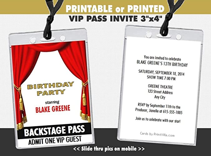 Theatre Acting Birthday Party VIP Pass Invitation Printable Or Printed Option
