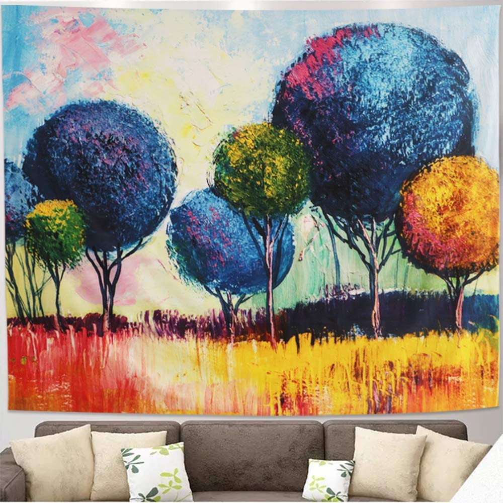 Impressionist Landscape Oil Paintings Tree Tapestry Country Tapestry Hanging Scenery Watercolor Wall Psychedelic Tapestry for Bedroom Living Room Dorm Wall Decor Art Tapestry (L 78.7W x 59.1H)