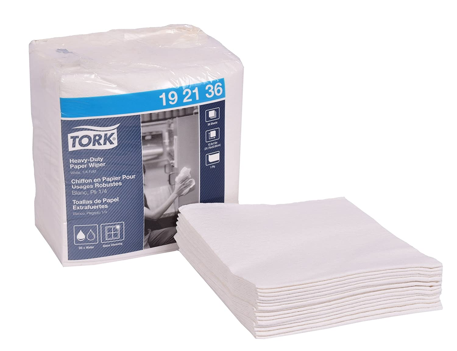 Tork 192136 Heavy-Duty Paper Wiper, 1/4 Fold, 1-Ply, 12.5