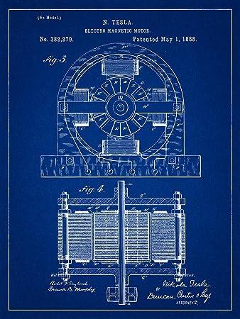 Amazon nikola tesla electric motor patent blueprint style art nikola tesla electric motor patent blueprint style art print 8x10 inch malvernweather Gallery