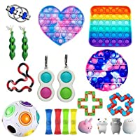 MISSugar 20 Packs Fidget Toy Set Cheap Amoong in Us Pop Bubbles Push Dimple Set Stress Reduction Toy Set Stress Anxiety for Kids Adults (Random Color, Fidget Pack)
