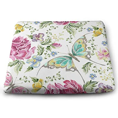Sanghing Customized Embroidery Trend Floral with Roses Violets and Butterflies 1.18 X 15 X 13.7 in Cushion, Suitable for Home Office Dining Chair Cushion, Indoor and Outdoor Cushion.: Home & Kitchen