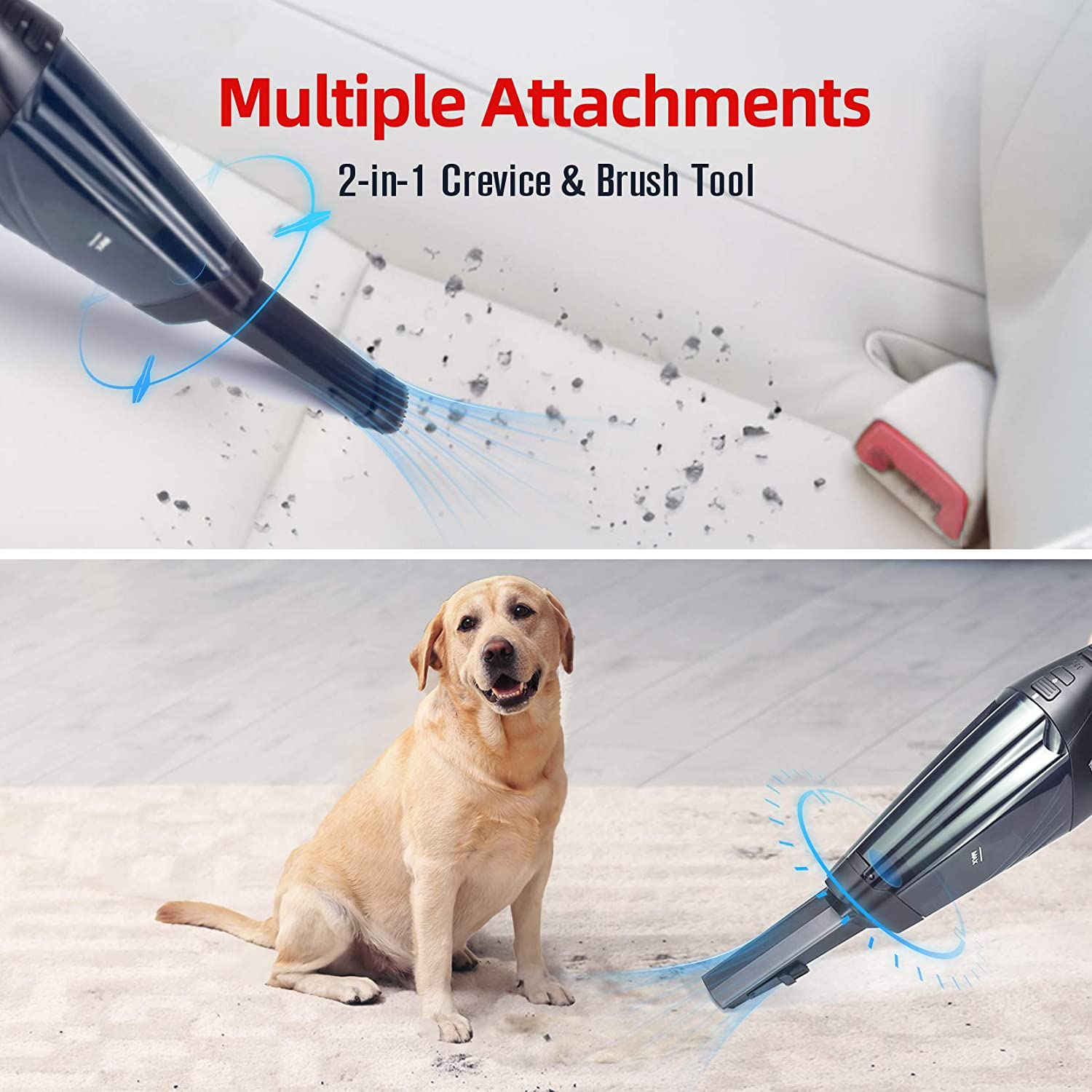 Lightweight Vacuum for Home Car Pet One-Button Clean, LED Light, Wet/&Dry Use, Wall-mount Charge Powerful Handheld Vacuum Cleaner Handheld Vacuums Cordles Rechargeable Car Handheld hoover