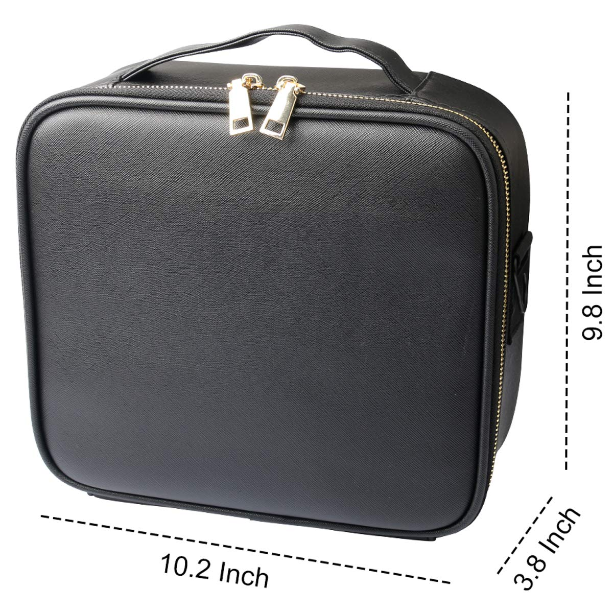 PU Leather Travel Makeup Case, Portable Organizer Makeup Train Case Cosmetic Bag