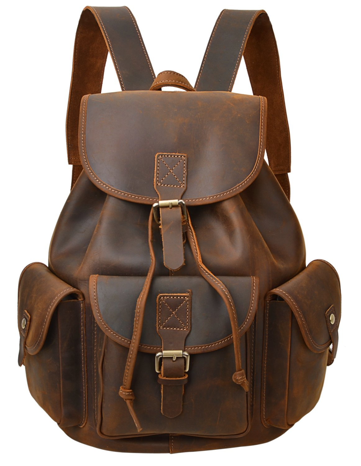 ALTOSY Crazy Horse Leather Backpack Vintage Leather Travel Rucksack College Laptop Bag 8088 (light brown) by ALTOSY