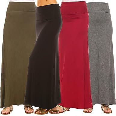 Maxi Skirt Waist Foldover Solid Long Lightweight Rayon Spandex Regular Plus USA