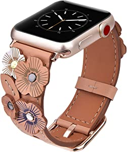 V-MORO Flowers Leather Bands Compatible with Apple Watch Bands 38mm 40mm Series 4/3/2/1 with Stainless Steel Buckle Rose Gold Replacement Strap Wristbands Women(Beige, 38mm)