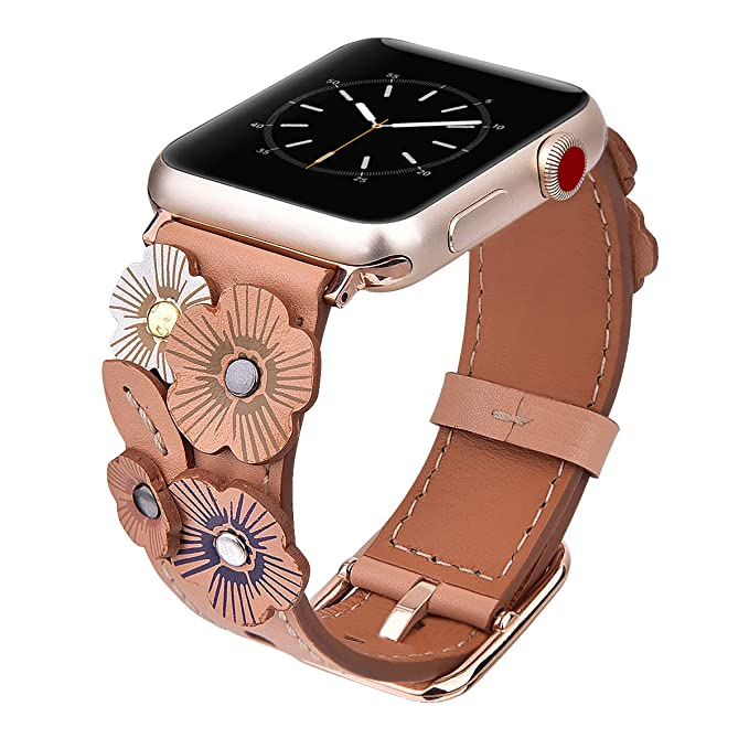 4683452f1f V-MORO Flowers Leather Bands Compatible with Apple Watch Bands 42mm 44mm  Series 4/3/2/1 with Stainless Steel Buckle Rose Gold Replacement Strap ...
