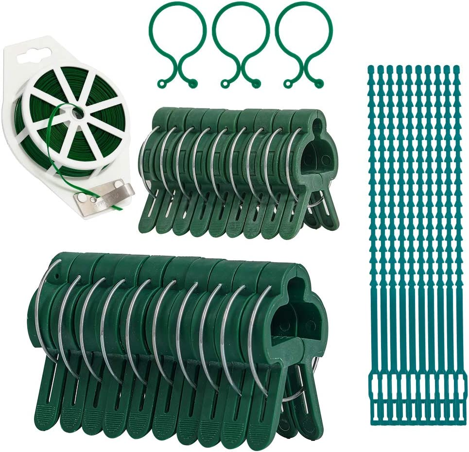 61 Pcs Plant Support Clips Garden Twist Tie Set for Supporting Stems of Stems of Flower Vine Vegetables Tomatoes Grow Upright Climbing