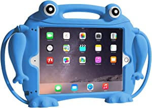 CHIN FAI Kids Case for iPad 9.7 2018 2017 / iPad Air 1 2 / iPad Pro - [Eye Popping Toys] Shockproof Silicone Handle Stand Frog Protective Cover for Apple iPad 5th 6th Generation (Blue)