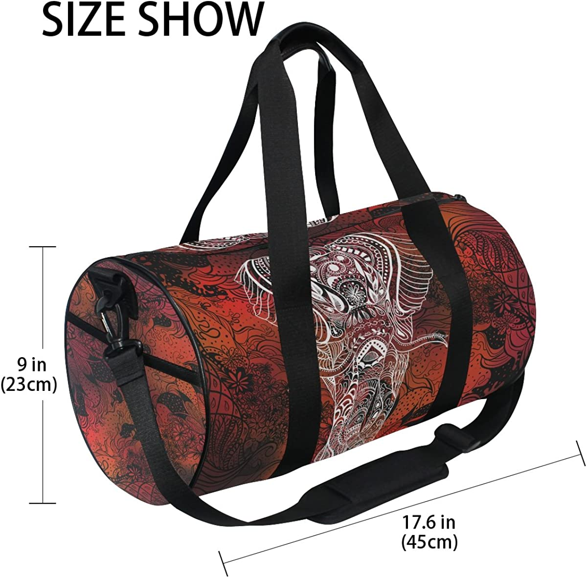 Indian Elephant Hippie Sports Gym Bag with Shoes Compartment Travel Duffel Bag for Men and Women