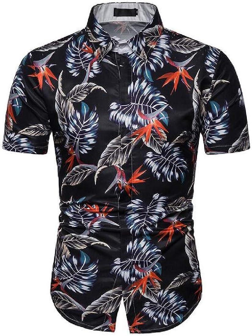 YYear Mens 3D Printing Short Sleeve Casual Beach Button Up Dress Shirts