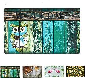 YK Decor Owl Print Welcome Doormat Decorative Entrance Floor Mat Indoor Front Door Mat Non Slip Rubber Welcome Mat 17 x 29inches
