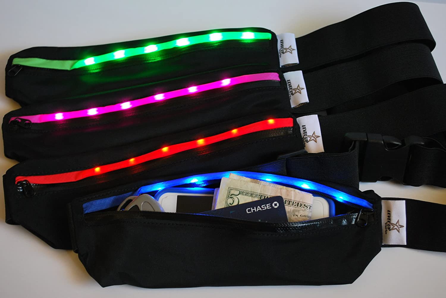 LED Light Running Workout Belt – Fits most big phones, Iphone 6plus, Samsung, LG, HTC. Great for hiking, running, walking, gym, treadmil, Yoga. Sweat Resistant
