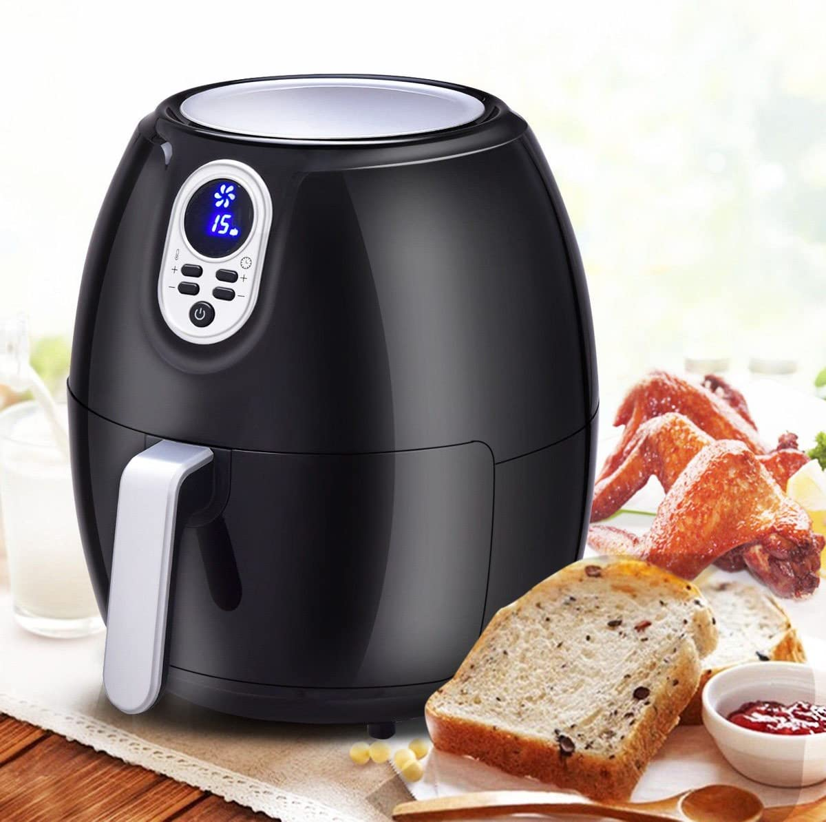 1500 W 4.8 Quart Electric Digital Air Fryer with LCD Screen Timer - By Choice Products
