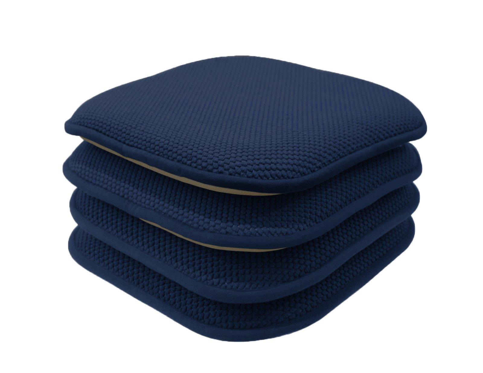GoodGram 4 Pack Non Slip Honeycomb Premium Comfort Memory Foam Chair Pads/Cushions - Assorted Colors (Navy)