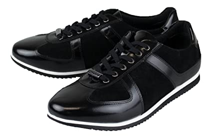 f9879b2a41788 Amazon.com : Versace Collection Black Leather Fashion Sneakers Shoes ...