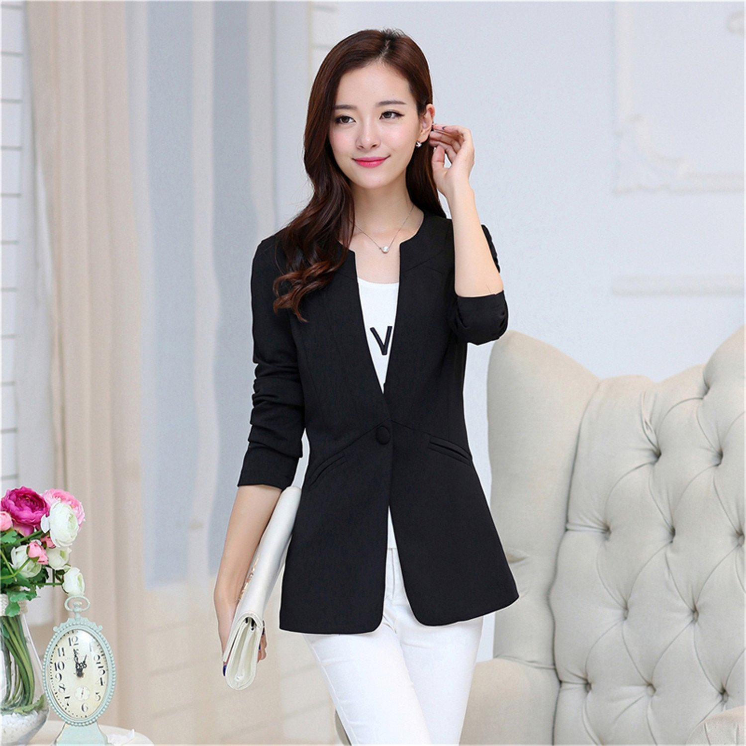Toping Fine Autumn Women Blazer Coat Elegant Suit Jacket Outwear Long Jackets Coat 5XL Tops at Amazon Womens Clothing store:
