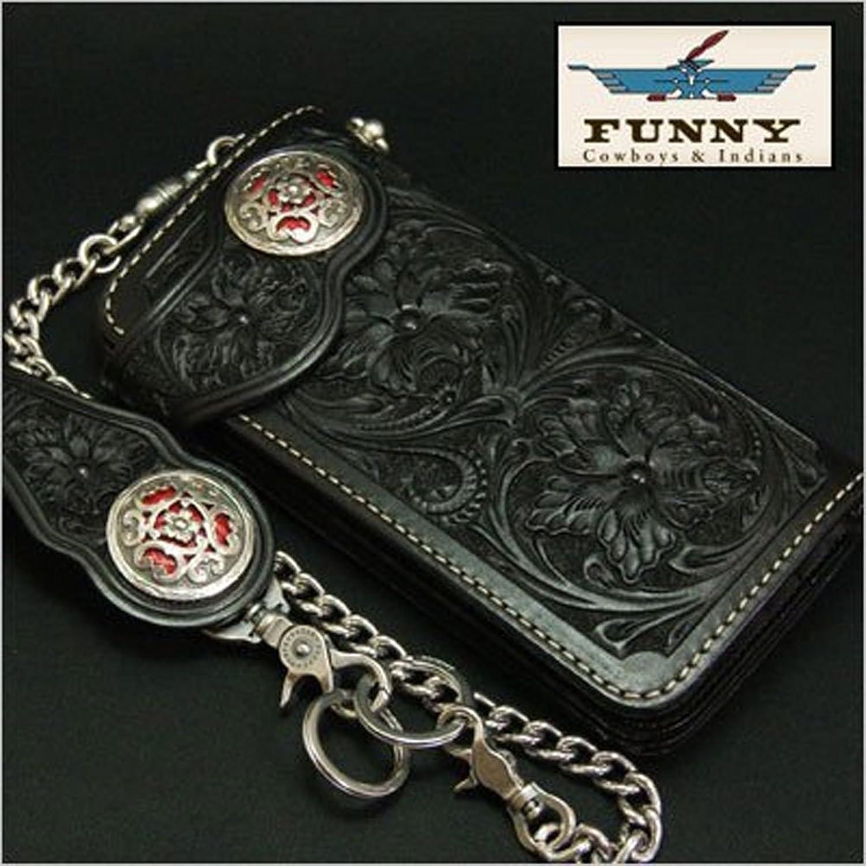 FUNNY/ファニークラフトSカービング クロコダイルインレイ ブラックロングウォレット B00TLNQ3IA