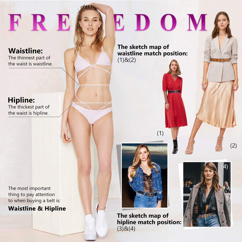 Women Leather Belt Double Ring Black Belt Fashion Golden Designer Buckle Belt for Jeans, Pants, Dresses, Shorts