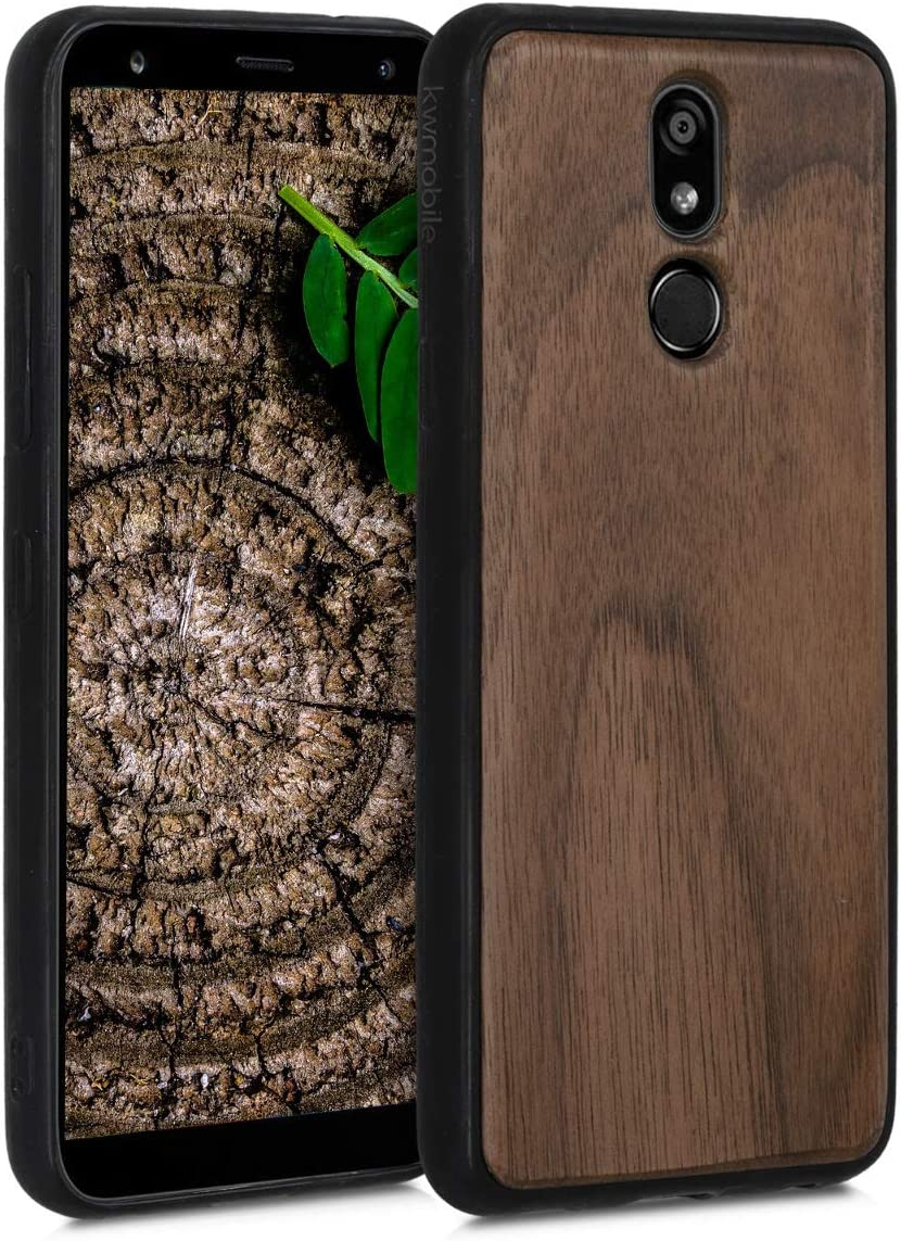 kwmobile Wooden Cover Compatible with LG K40 - Hard Case with TPU Bumper - Dark Brown