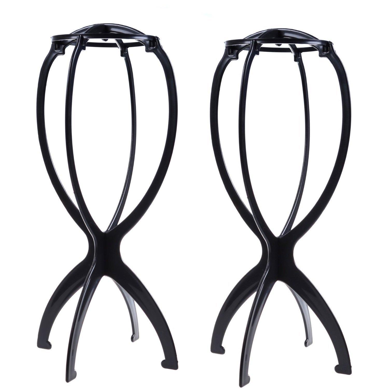 2 soportes para peluca o sombrero, plegables, de plástico, ideal como secador de peluca: Amazon.es: Belleza